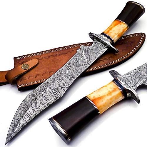 BK-40 Handmade Damascus Steel 15 Inches Bowie Knife - Beautiful Rose Wood Bone & Bull Horn Handle (Orange)