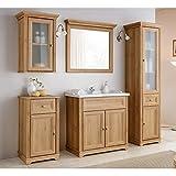 Loma Dox baño de muebles Juego completo de 5piezas ● imitación de madera de roble nb. en estilo rústico ● 80cm Armario lavabo con cerámica ● lavabo,–Armario alto, armario y armario