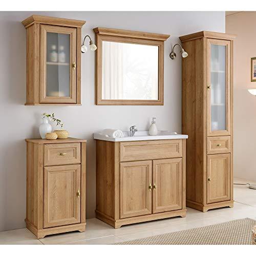 Lomadox Bad-Möbel Komplett Set 5-teilig ● Holzoptik Eiche Nb. im Landhausstil ● 80 cm Waschtischunterschrank inkl Keramikwaschbecken ● Spiegel, Hochschrank, Unterschrank und Hängeschrank