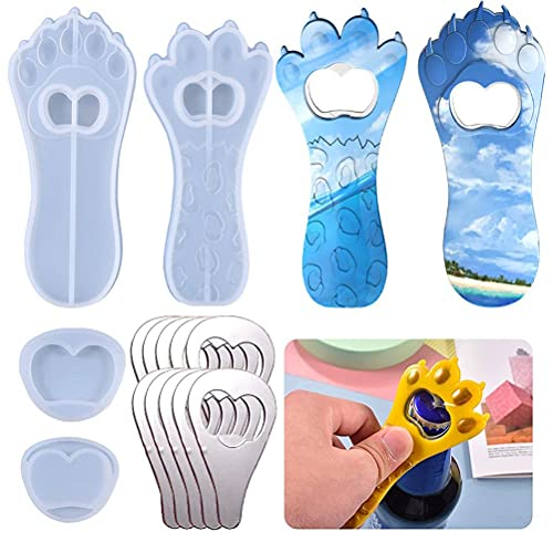 Eeauytr Abridor de botellas, molde de silicona con diseño de pata de gato viejo,Abrebotellas de llavero de bricolaje,Decoración personalizada para la cocina