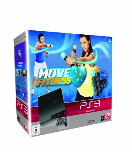 Sony PlayStation 3 Slim, 320Gb + Move Fitness