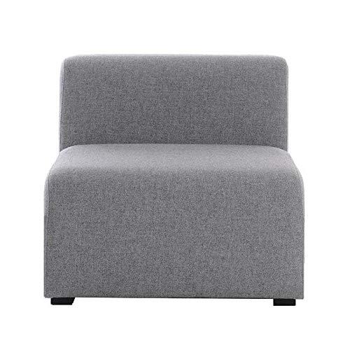 HAY Mags Sofa-Modul Mitte schmal 74,5x95,5cm, hellgrau Stoff Hallingdal 130 Füße Kiefernholz schwarz gebeizt mit Filzgleitern