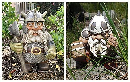 Barbas & Zacári Wikinger Victor Norse Zwerg Gnom Statue - Wikinger Garten Gnom Farbige Dekoration für Outdoor GNOME Figuren für Indoor Outdoor Home Yard Dekor (C)