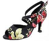 Zapatos de baile latino para mujer Salsa Tango Cha-Cha Ballrom Custom talón y suela Peep Toe Impreso Flor Práctica Baile Zapatos 6123, color, talla 40.5 EU
