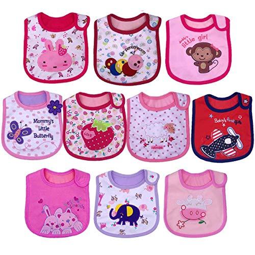 Yafane Lot de 10 Bébé Bavoir Imperméable Coton Bavoirs Bandana Bavette pour Bébé Garçon 3 à 24 mois (Girl)