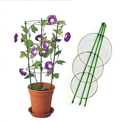 IsMoon 60CM Vine-Gitter Unterstützung Blumen Pflanzen Käfig Triple Kunststoff Säule mit Eisen Ringe Vine Pflanzen Ständer Topf Klein-Gitter für Haus Garten Balkon (Mehrfarbig)