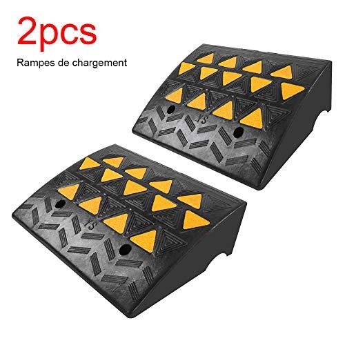 2 rampas de acceso de goma, rampa de acceso para coche con rampas de acceso de goma para caminos de coche y sillones de ruedas, resistente, 49 x 37 x 15,5 cm