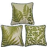 McAlister Textiles Tapestry | 3er Set bestickte Kissenbezüge grüne Farne 40cm x 40cm | Deko...