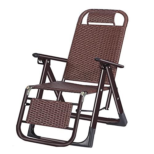Solstol Camping Sunlounger Folding, Justerbar Ryggstöd Noll Gravity Chair Rattan Stol Med Non-slip Foot Pad Lawn Lounge Stolar Lätt Att Vikas Solstol(Size:Brun)