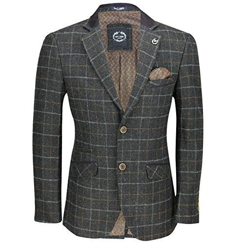 Xposed Completo a quadri da uomo, in tweed, 3 pezzi (giacca, pantaloni e gilet) venduti separatamente Blazer-Charcoal Grey Petto  64