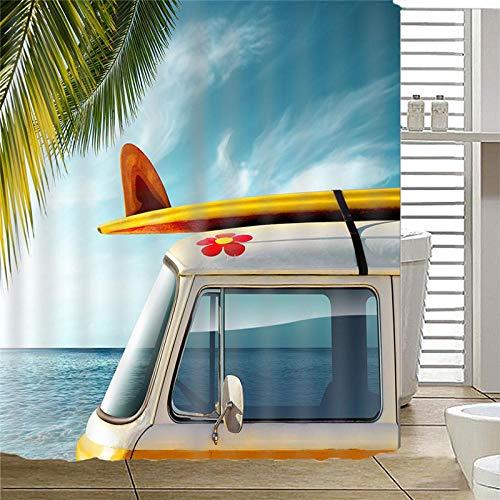 ZDPLL Cortina de Ducha Impresa en 3D Tabla de Surf Cortinas de duche em poliéster impermeável, para la decoración del hogar 180x220cm