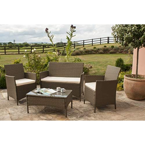 Comfy Living Rattan Garden Furniture Set Patio Funiture 4 Peice Set in Brown with Cover