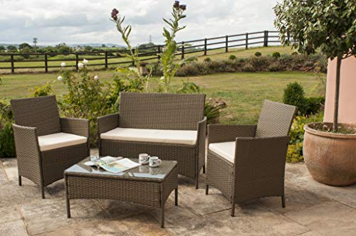 Comfy Living Rattan Garden Furniture Set Patio Funiture 4 Peice Set in Brown