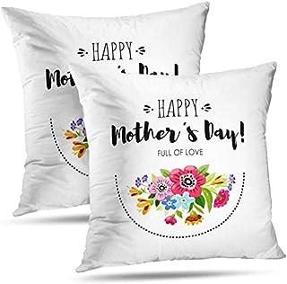 TABUE 18X18inch Fundas de Almohada Tarjeta de felicitación Tarjeta con Flores Feliz Día de la Madre Tarjeta Letras Patrón de Doble Cara Funda de cojín Sofá Funda de Almohada
