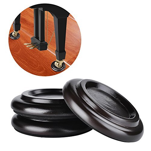 TOPCHANCES 3 Pack Piano Castor Cup for Tripod Grand Piano Caster Pads w/EVA AntiSlip Mat Piano Leg Pad Size PA20 Brown