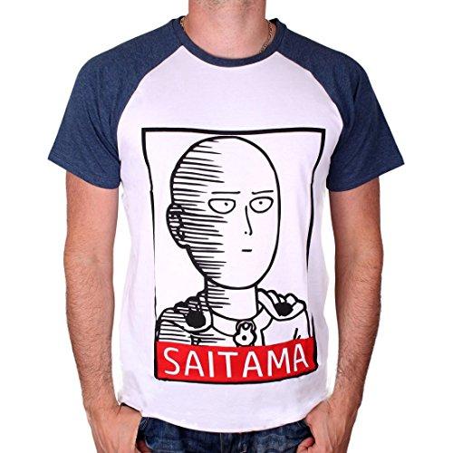 One Punch Man Camiseta Hombre Saitama Hero Blanco Azul