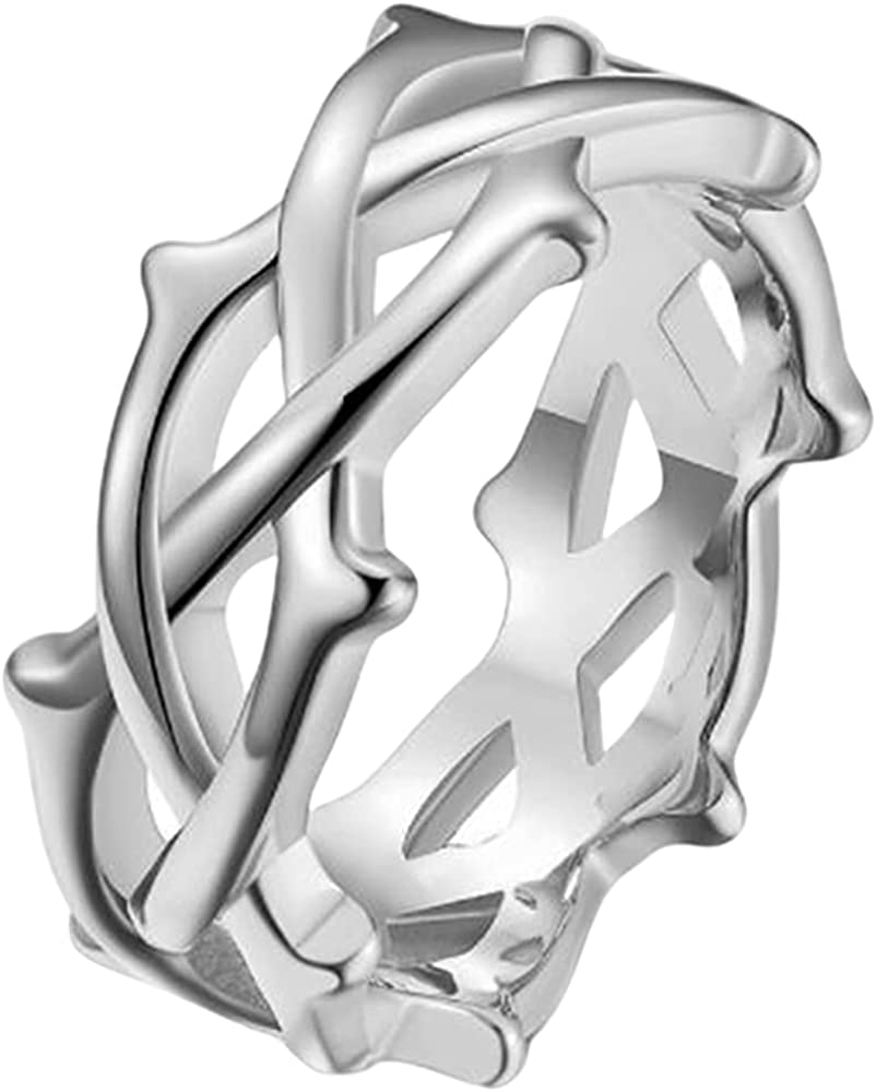 Stainless Steel Braided Woven Wave Styel Wedding Band Statement Promise Anniversary Ring