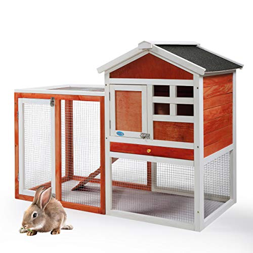 """JAXPETY 44"""" Wooden Rabbit Hutch Cage House Habitat Animal Pet Chicken Coop Indoor Outdoor, Red & White"""
