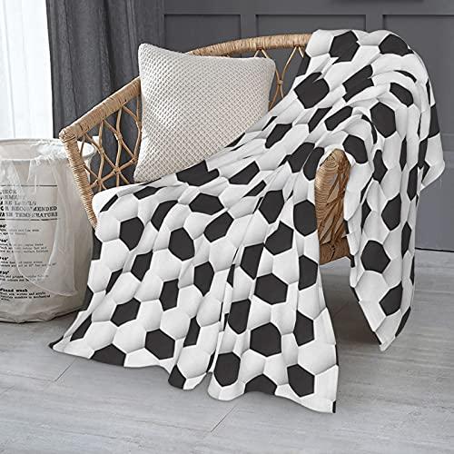 Manta deportiva con patrón geométrico de pelota de fútbol para cama de 152 x 127 cm