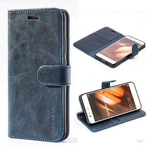 Mulbess Cover per Huawei P10 Plus, Custodia Pelle con Magnetica per Huawei P10 Plus [Vinatge Case], Blu Navy