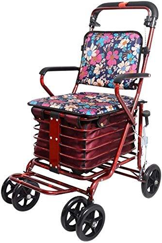 Röd Deluxe Rollator - 4-Hjulig Vikare ? Walking Ramar Köp Grönsaker, Liten Vagn, Gammal Vagn