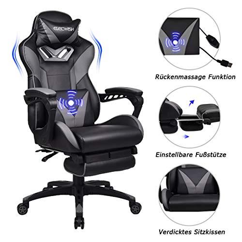 YU YUSING Massage Racing Gaming Stuhl Bürostuhl - Ergonomisches Sportsitz höhenverstellbarer Computerstuhl Chefsessel Schreibtischstuhl mit Kopfstützen, verstellbaren Armlehnen und Fußstützen (Grau)