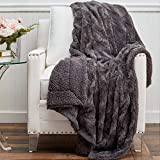 The Connecticut Home Company Soft Faux Fur with Sherpa Bed Throw Blanket, Many Colors, Fluffy Large Luxury Reversible Blankets, Fuzzy Washable Throws for Couch, Beds, Home Bedroom Decor, 65x50, Gray