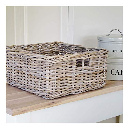 Bliss and Bloom Square Wicker Storage Basket Grey Buff Rattan