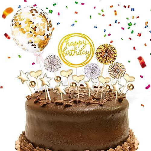 RayE Tortendeko Gold, Happy Birthday stecker, Kuchendeko,Glitter Cake Topper Happy Birthday,Cupcake Topper mit Sternen Liebe Konfetti-Luftballons und Papierfächer