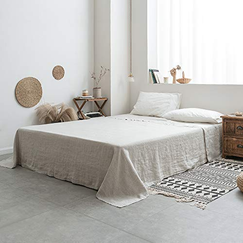 Simple&Opulence Sábana encimera 100% lino lavado a la piedra, estilo básico, súper suave, sábana encimera – 1 solo sábana (doble 228 x 255 cm, lino)