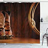 Ambesonne Western Decor Duschvorhang American Style Cowboy Wild West Culture Equestrian Sports Team Roping Scheune Stoff Badezimmer Decor Set mit Haken, 75