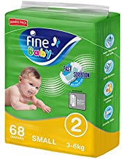 Fine Baby Fast Sorption, Size 2, Small, 3-6 kg, Jumbo Pack, 68 Diapers
