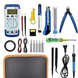 WHR-HARP Kit de Soldador Eléctrico y MultíMetro Numérico, Set de Soldador Electrónica de Estaño, Juego de Soldador Mantenimiento Eléctrico y Uso Doméstico,Blue