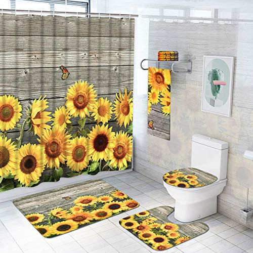 7 Piece Sunflower Shower Curtain Sets with Rugs and Towels, Include Non-Slip Rug, Toilet Lid Cover, Bath Mat and Towels, Waterproof Flower Shower Curtain with 12 Hooks, Rustic Bathroom Accessory Sets