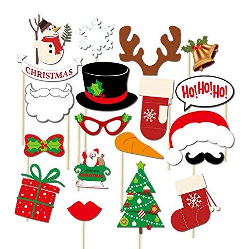 Veewon Nouveau Joyeux Noel accessoires de cabine de photo pour Xmas Party Supplies Kit 19pcs de bricolage boîte de cadeau corne de cerf Chapeau de Père Noël Chaussettes Photobooth