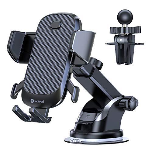 VICSEED Handyhalter fürs Auto Handyhalterung Lüftung mit Saugnapf KFZ Smartphone Halterung für Kratzschutz iPhone 11 Pro, Xs Max, XR, X, 8, 7, 6, Samsung S10 S9 S8 S7 S6, Huawei usw –Schwarz