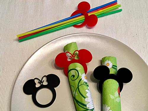 Mickey Mouse Ears Napkin Rings Kids Cloth Napkins Mickey Theme Minnie Mouse Black Gold Birthday Decor Wedding Favors Disney Decorations Event Party Supplies Tableware Cartoon Acrylic Table Settings