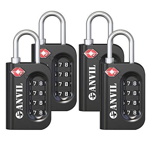 TSA Luggage Locks - 4 Digit Combination Steel Padlocks - Approved Travel Lock for Suitcases & Baggage (Black 4 Pack)