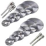 QISF Cuchillas de Sierra Circular Set, Mini HSS Discos de Corte para Madera,Herramienta Rotativa para Corte de Madera/Plástico /Metal(16 Piezas)