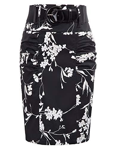 Kate Kasin Falda Elegante para Mujer, Estilo Vintage, Estampado Floral, Bodycon Midi GF610 Floral-4(kk0610-4) 36