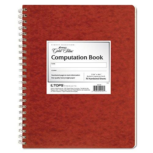 Ampad Computation Book, 4x4 Quad Ruled, 76 Sheets, Ivory, 11-3/4' x...