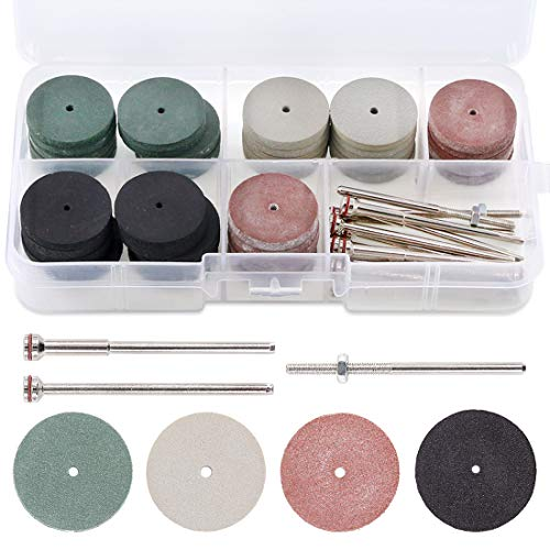 Swpeet 52Pcs Polishing Wheels Kit, 40Pcs 4 Colors Mixed Lab Beauty Silicone Rubber Polishing Wheels + 12 Mandrel Shank Perfect for Rotary Hand Pieces Rotary Tool