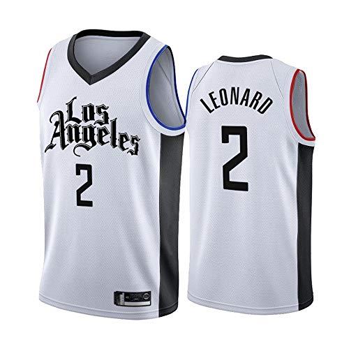 LITBIT Baloncesto para Hombre NBA Jersey Vintage Clippers 2# Leonard Latin Transpirable Quick Secking Sin Mangas Vestima Top para Deportes,Blanco,M