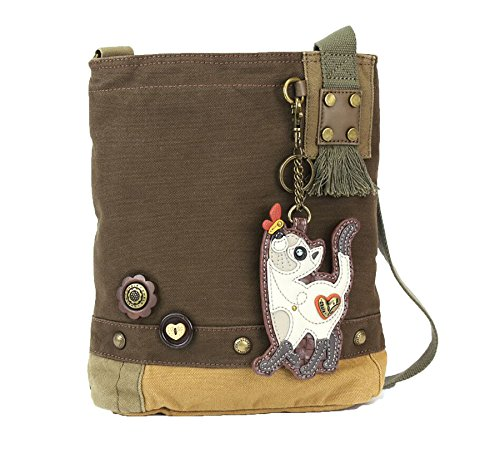 Chala Damen Handtasche mit Patch, dunkelbraun, Segeltuch, Messenger Bag, schmale Katze