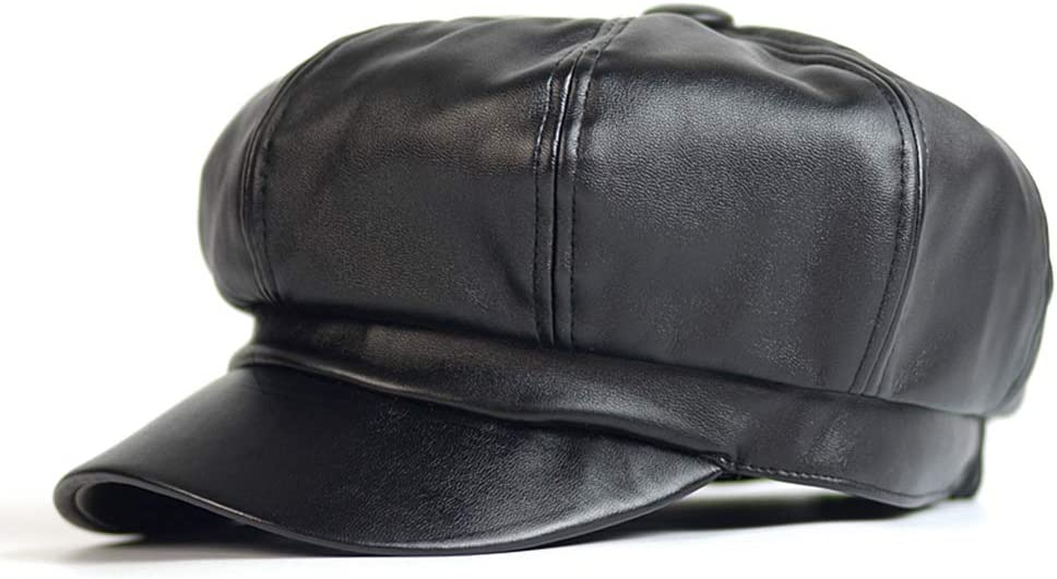 TANGADYL Women PU Octagonal Hat Beret Newsboy Warm Retro Traditional Adjustable Outdoor Autumn Winter (Black)