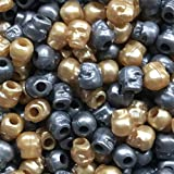 Skull Beads Pearl Gold Silver Mix Large Hole Pony Beads Made in USA