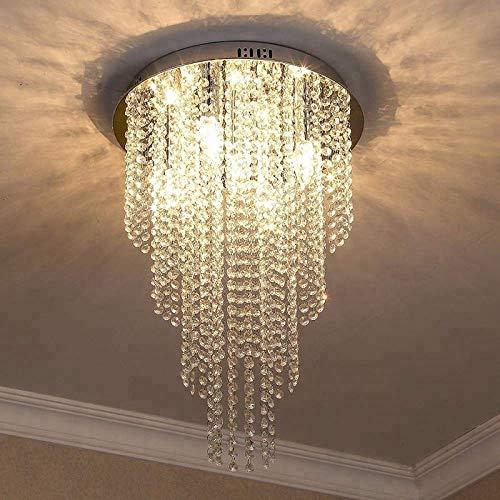 Made in India Chandelier Luxury Light Lamp Round Crystal Rain Drop Pendant Light Fixture for Living Room Bedroom.((Medium)
