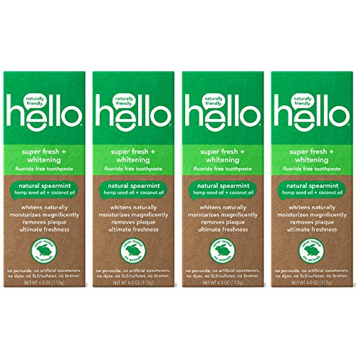 Hello Vegan Fluoride Free Toothpaste, Super Fresh Spearmint, Naturally Whitening Toothpaste, Hemp Seed Oil + Coconut Oil, Helps Remove Plaque, No SLS/Sulfates, 4 Count (16 Total Oz.)