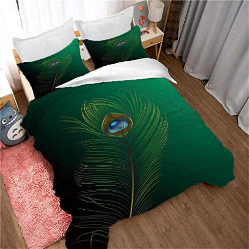 King duvet cover 3D printed Green/Peacock Feather pattern 3 pieces of bedding, super soft polyester duvet cover 220x240cm + 2 pillowcases 50x75 cm
