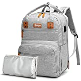 Diaper Bag Backpack with Expandable Layer, Detachable Insulated Pocket, Rabjen Large Capacity Unisex Baby Bag for Boys Girls, Multifunction Maternity Travel Back Pack for Moms Dads …
